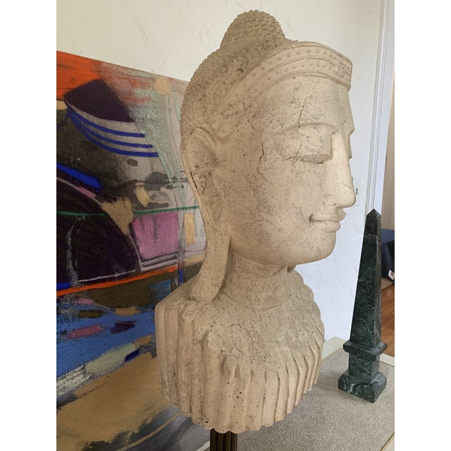 Tribal Mid 20th Century Calming Tibetan Stone Bust on Bronze Stand For Sale - Image 3 of 10