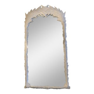Vintage Hollywood Regency White Lacquered Leaf Wall Mirror