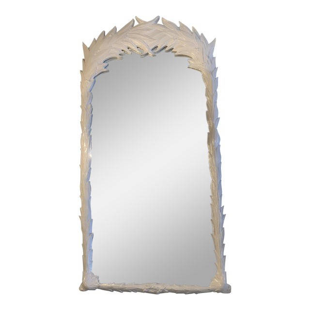 Vintage Hollywood Regency White Lacquered Leaf Wall Mirror For Sale