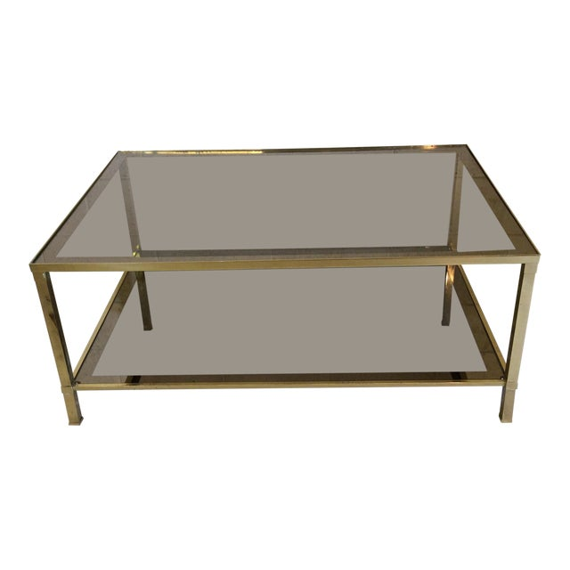 1970s Italian Brass & Smoke Glass Two Tiered Coffee Table For Sale