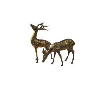 Large Mid Century Brass Deer Statues - a Pair