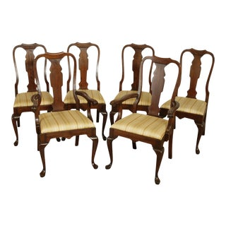 Pennsylvania House Vintage Solid Cherry Set 6 Queen Anne Dining Chairs For Sale