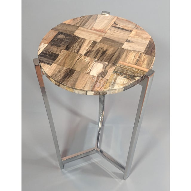 Brown Organic Modern Petrified Wood and Chrome Side Table For Sale - Image 8 of 13