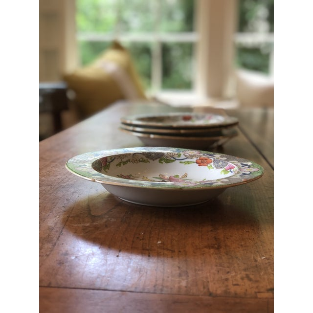 Asian Antique Floral Detail Ironstone Bowls - Set of Four For Sale - Image 3 of 10