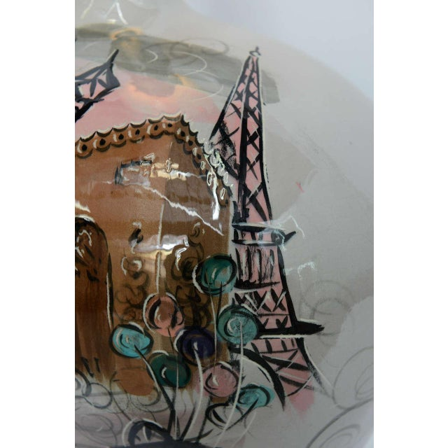 Ceramic 1950s Pottery Vase with Painted Parisian Scene Lamp For Sale - Image 7 of 9