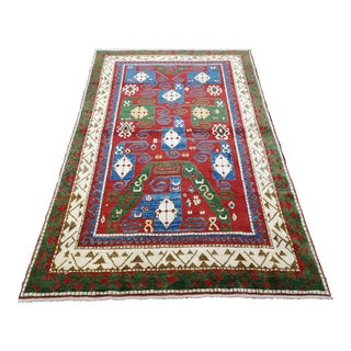 1990s Colorful Geometric Azerbaijan Hand-Knotted Wool Area Rug For Sale
