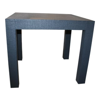 Contemporary Linen Wrapped Parsons Side Table For Sale