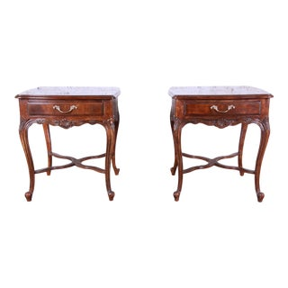 Drexel Heritage French Parquetry Walnut End Tables - a Pair For Sale