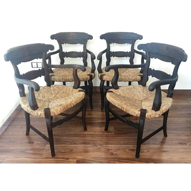 19th century set of four armchairs with straw seat very comfortable. Details OF THE PERIOD Spanish Colonial PLACE OF...