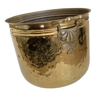 Vintage Dutch Hammered Brass Planter For Sale