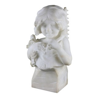 Late 19th Century Italian Alabaster Bust Sculpture of Girl with Flowers by D.Zoi For Sale