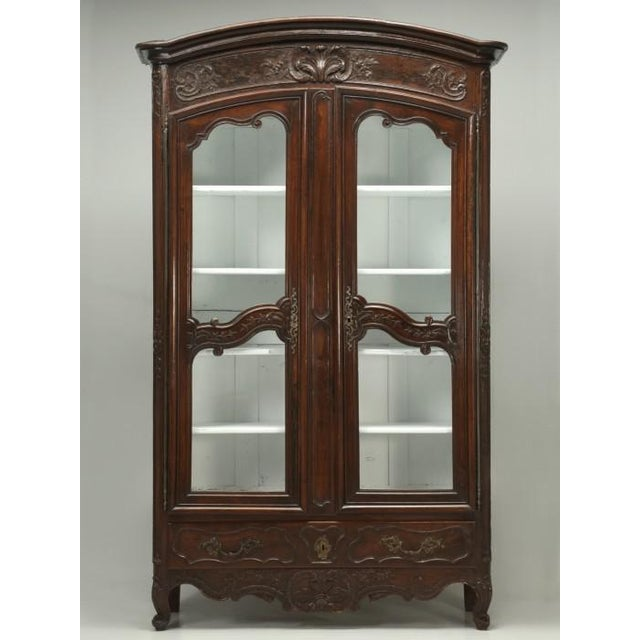 Antique French Walnut Armoire or China Cabinet For Sale - Image 13 of 13