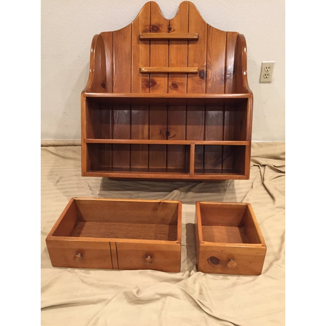 1950s 1950s Early American Pine Shelf Unit Telephone For Sale - Image 5 of 13