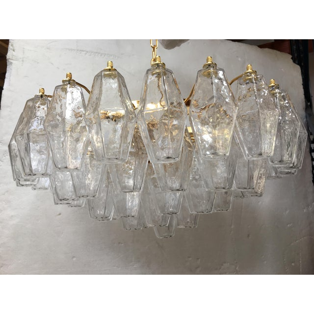 Clear Poliedro Murano Glass with 24K Gold Frame Sputnik Chandelier For Sale - Image 6 of 10