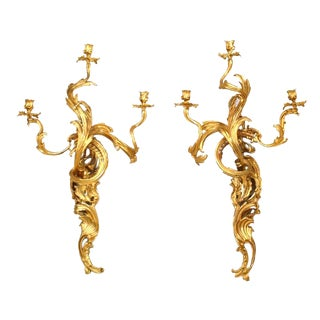 19th Century French Louis XV Style Three-Arm Wall Sconces - a Pair For Sale