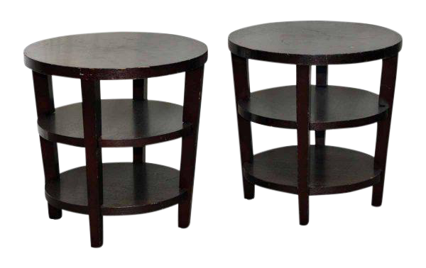 3 Tier Round Wood End Tables A Pair Chairish