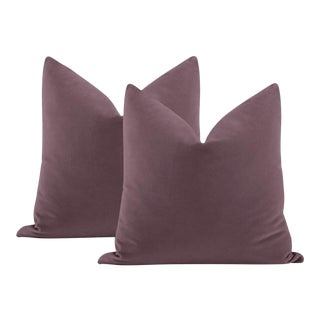 "22"" Hyacinth Italian Velvet Pillows - a Pair For Sale"
