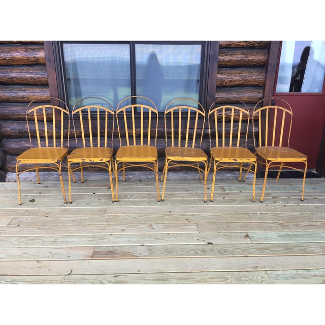 Vintage Mid Century Yellow Industrial Metal Dining Chairs-Set of 6 For Sale - Image 13 of 13