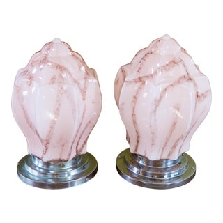 Art Deco Pink Marbelized Glass Flush Mount - A Pair For Sale