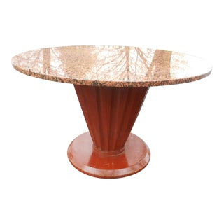 20th Century French Art Deco Round Marble Top Coffee/Cocktail Table For Sale