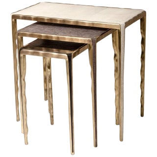 Shagreen, Shell and Brass Nesting Tables by R&y Augousti-Set of 3 For Sale