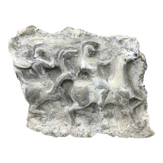 Bas Hanging Wall Relief Panel of Horse and Riders For Sale