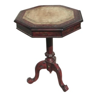 Traditional Distressed Octagon Pedestal Table With Leafy Themed Inlay Design For Sale