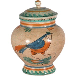 Italian Hand Painted Ceramic Canister For Sale