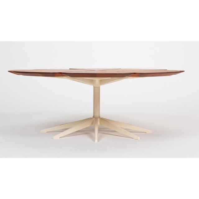 Richard Schultz's 1960s design for a series of tables was intended as a pairing for the Harry Bertoia wire seating group....