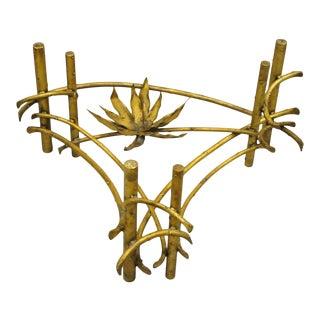 Silas Seandel Lotus Flower Gold Gilt Iron Faux Bois Brutalist Coffee Table Base For Sale