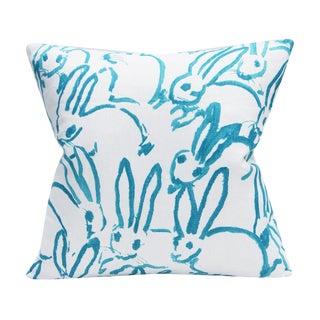 Bunny Fabric - Hutch Print Aqua - Hunt Slonem - Lee Jofa - Lumbar 20x20 Inch For Sale
