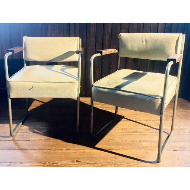 Green 1930s Streamline Moderne Tubular Nickel Plated Armchairs - A Pair For Sale - Image 8 of 8