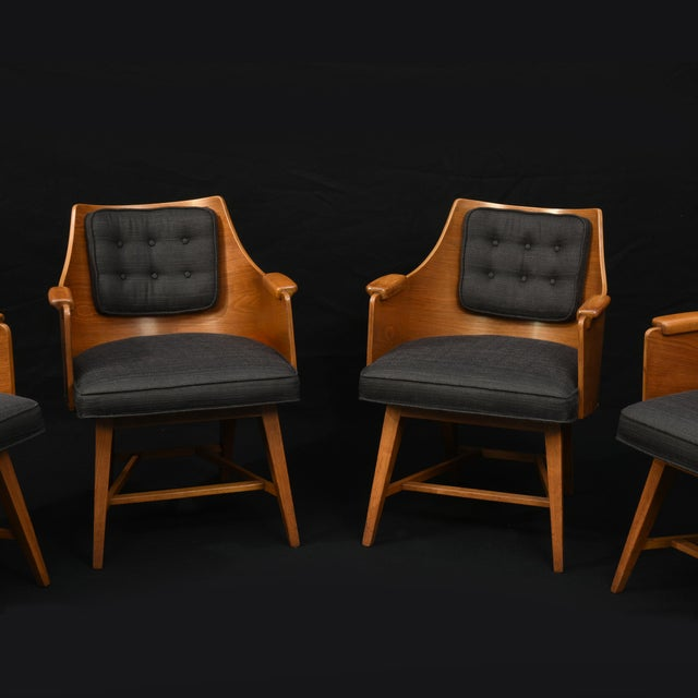1950s Edward Wormley for Dunbar Chairs, Rare Set of Four, 1950's For Sale - Image 5 of 11