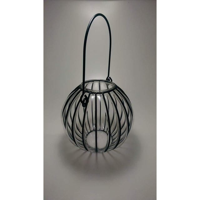 Contemporary Caged Bubble Glass & Wrought Iron Lantern Hanging Basket For Sale - Image 3 of 7
