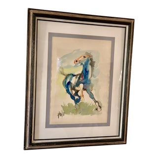 Vintage Large Watercolor Horse Painting For Sale