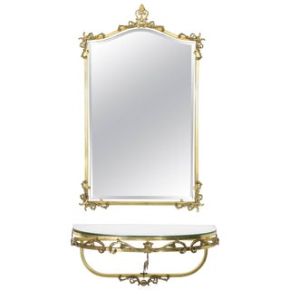 French 20th Century Vintage Floating Brass Console and Mirror, 1960 For Sale