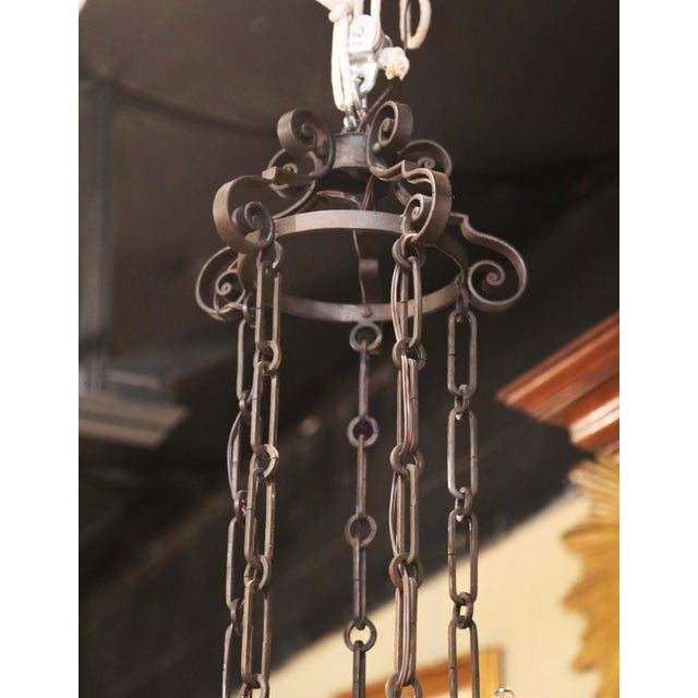 19th Century French Gothic Iron and Copper Two-Tier Fifteen Light Chandelier For Sale - Image 10 of 11