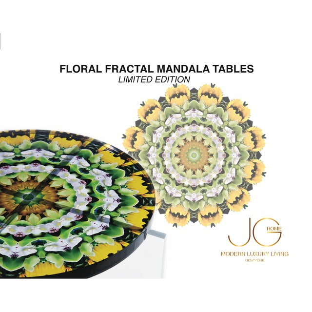 Abstract Signed Hand Made Acrylic Mandala Tables For Sale - Image 3 of 5