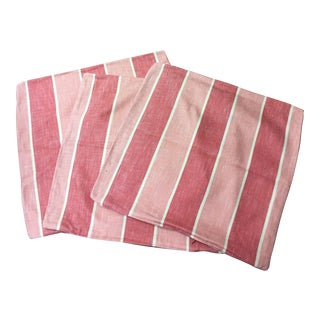 Custom Pink Striped Linen Pillow Covers - Set of 3