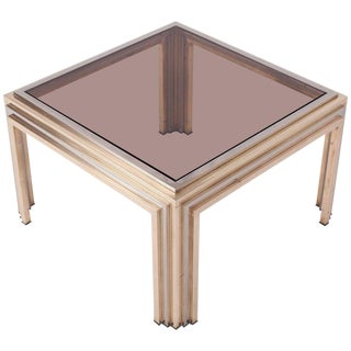 Romeo Rega Brass and Chrome Coffee Table For Sale