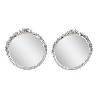 Vintage, Round, Silver, Beveled Mirrors with Carved Floral Details - a Pair For Sale