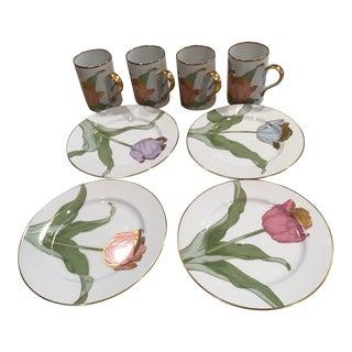 Vintage Fitz & Floyd Tulipe d'Or Mug & Plate Four - Set of 8 For Sale