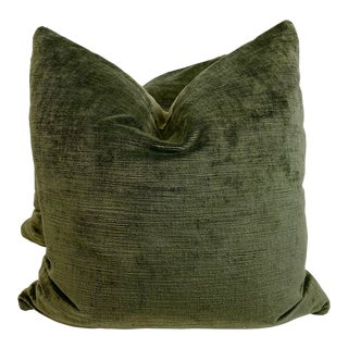 "Lee Jofa ""Vintage Velvet"" in Olive 22"" Pillows - a Pair For Sale"
