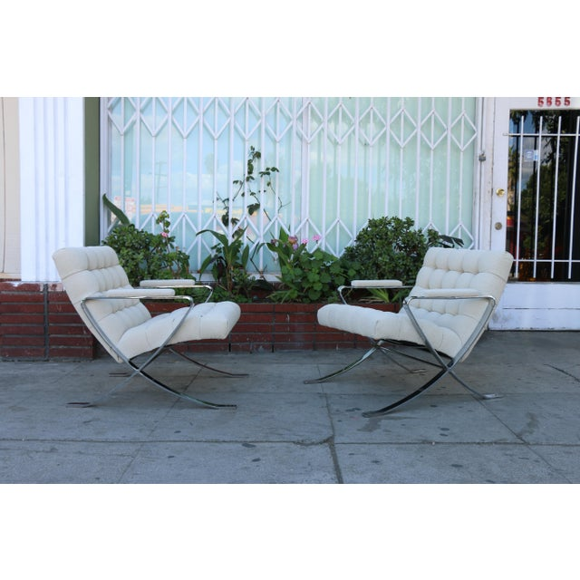 Cream Steel Chrome Lounge Chairs inspired by Milo Baughman For Sale - Image 8 of 13