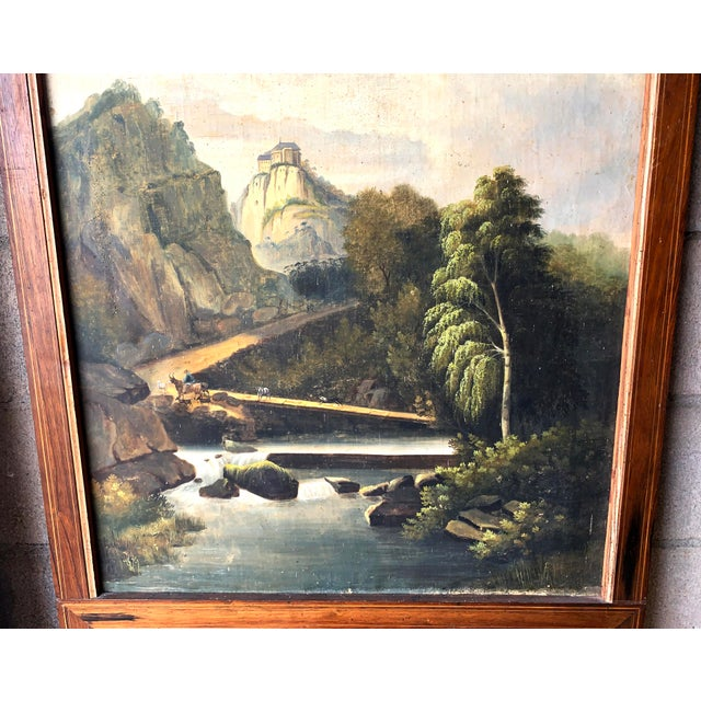 Green French Trumeau Mirror With Idyllic Pastoral Landscape For Sale - Image 8 of 12