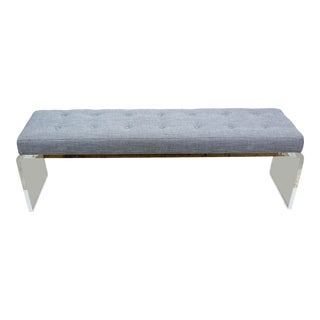 Elegant Custom Waterfall Acrylic & Linen Bench, Acrylic Bench, Gray Linen Bench For Sale