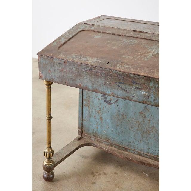 19th Century English Iron Bronze Industrial Davenport Desk For Sale - Image 10 of 13