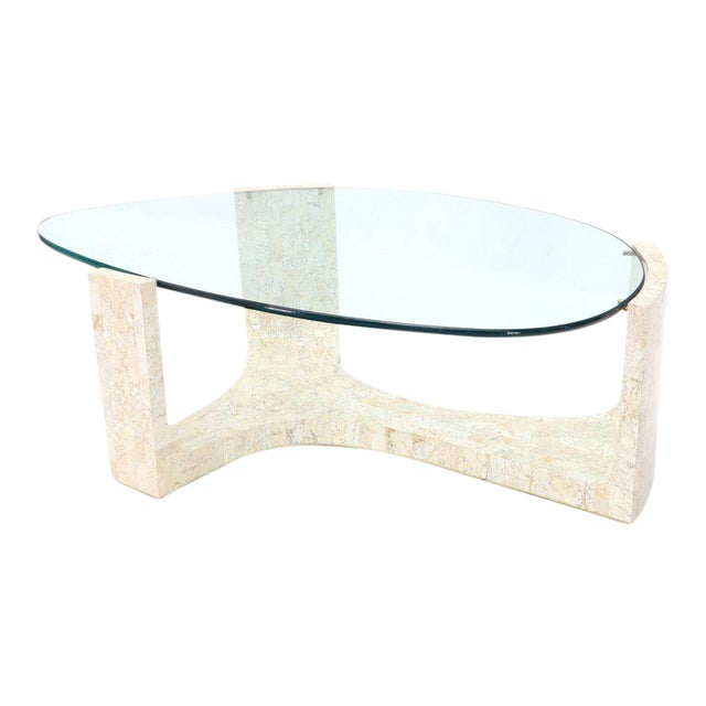 Tessellated Stone Veneer Tile Organic Kidney Shape Coffee Center Table For Sale