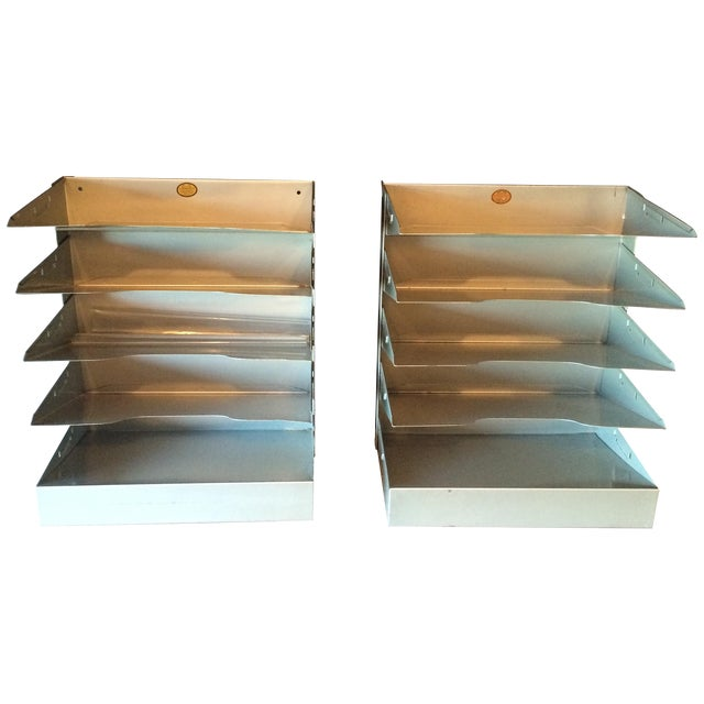 Mid-Century Metal Filing Trays - A Pair - Image 1 of 7