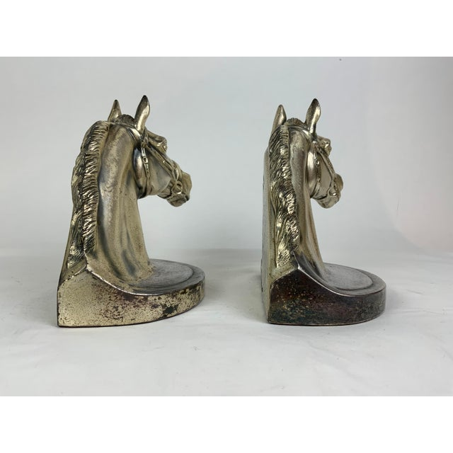 1950s Silver Horse Head Bookends - a Pair For Sale - Image 5 of 13